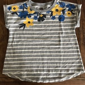 Tea Collection gray striped tee with flowers